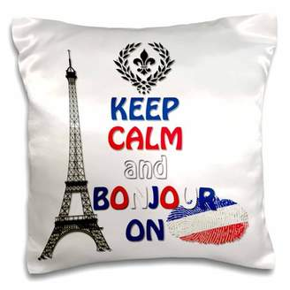 3dRose Keep calm and Bonjour on. Paris. Eiffel Tower., Pillow Case, 16 by 16-inch
