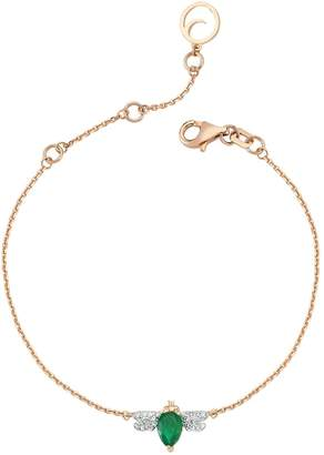 Bee Goddess Rose Gold Diamond and Emerald Honey Bee Bracelet