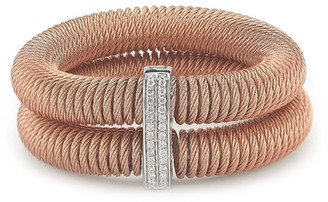 ALOR 18K Rose Gold Plated Stainless Steel Diamond Accented Coiled Bracelet - 0.24 ctw $995 thestylecure.com