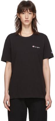 Champion Reverse Weave Black Small Script Logo T-Shirt