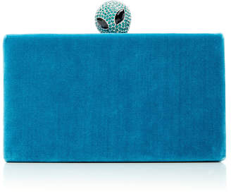 Edie Parker Jean Velvet Box Clutch with Jeweled Topper