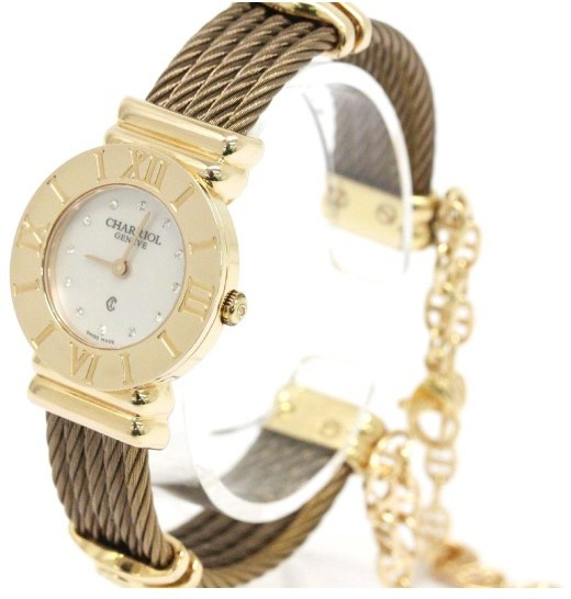 Charriol Charriol St-Tropez 028/2 Gold Plated Mother Of Pearl Diamond Dial 29mm Womens Watch
