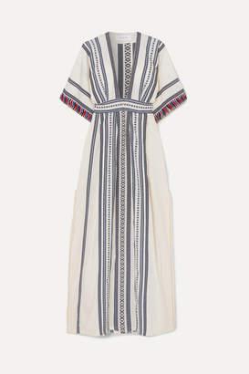 Celia Dragouni - Picot-trimmed Embroidered Cotton Maxi Dress - Navy