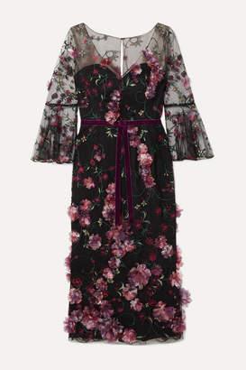 Marchesa Velvet-trimmed Appliqued Embroidered Tulle Midi Dress - Black