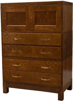 Rejuvenation Large Mission Oak Filing Cabinet w/ Brass Hardware
