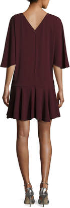 Halston Flowy-Sleeve Dress w/ Ruffle Skirt
