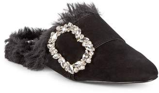Karl Lagerfeld Paris Lennox Faux Fur-Lined Suede Mules