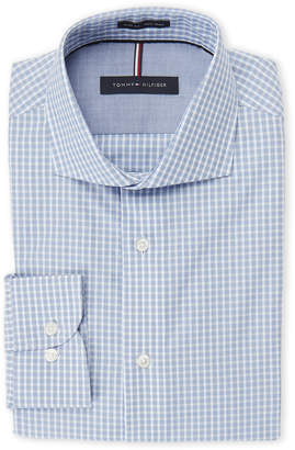 Tommy Hilfiger Blue Checkered Slim Fit Non-Iron Dress Shirt