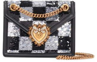 Dolce & Gabbana Devotion Paillette Checkerboard Sequin Crossbody Bag