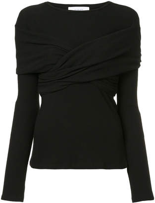 Le Ciel Bleu wrap fitted ribbed top