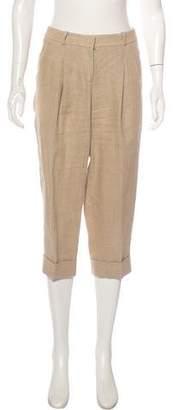 Michael Kors Linen Mid-Rise Straight-Leg Pants