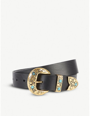 BLACK AND BROWN Sara Western gold-toned buckle leather belt