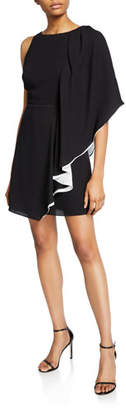Halston Asymmetric Draped-Sleeve Flowy Dress