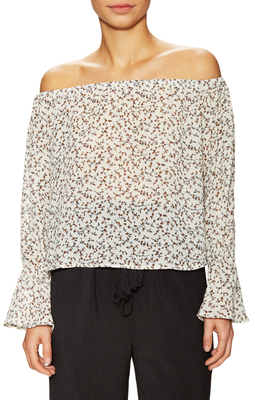 Printed Off Shoulder Top $60 thestylecure.com