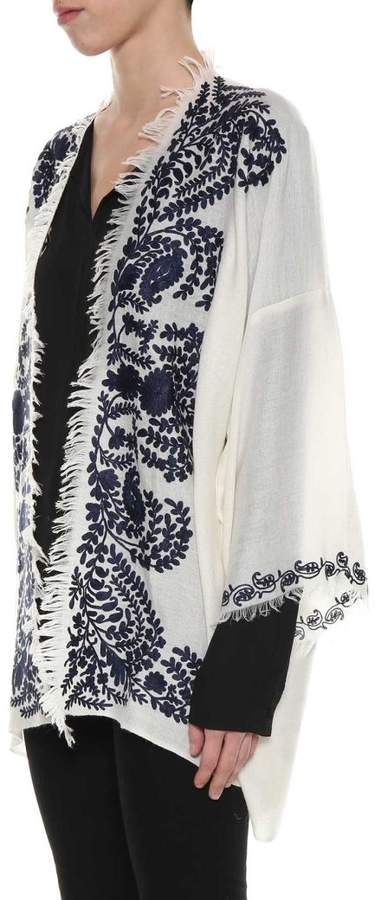 Black And White Embroidered Cardigan From