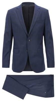 BOSS Hugo Slim-fit suit in plain-check virgin wool 34R Open Blue