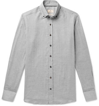 Hackett Slim-Fit Button-Down Collar Herringbone Cotton-Flannel Shirt