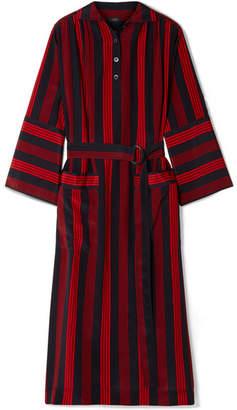 Joseph Chester Striped Silk Crepe De Chine Midi Dress - Navy
