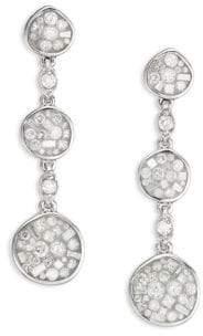 Ice Diamond Plevé Plevé Women's Pebble Ice Diamond& 18K White Gold Drop Earrings - White Gold