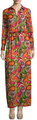 Trina Turk Long-Sleeve Printed Maxi Dress, Multi Colors $398 thestylecure.com