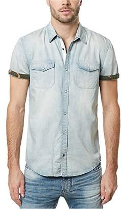 Buffalo David Bitton Men's Salaneyis Short Sleeve Fashion Denim Button Down Shirt