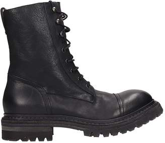 Roberto Del Carlo Black Leather Combact Boots