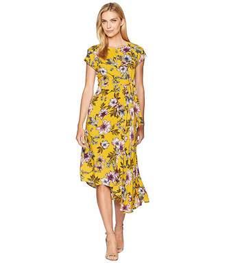 856b0e58 Donna Morgan Midi Length Floral Dress with Kimono Sleeve
