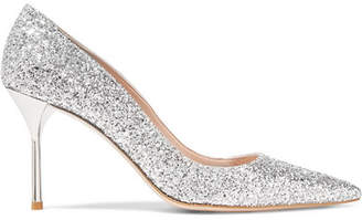 Miu Miu Glittered Leather Pumps - Silver