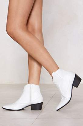 Nasty Gal Patent Faux Leather Western Ankle Boots