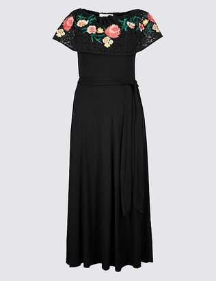 Marks and Spencer Embroidered Bardot Midi Dress
