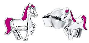 Prinzessin Lillifee 541954 Children's Earrings Horse 925 Silver 7 mm Rhodium-Plated Enamel