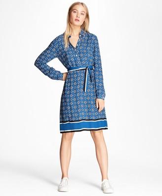 Brooks Brothers Foulard-Print Crepe Shirt Dress