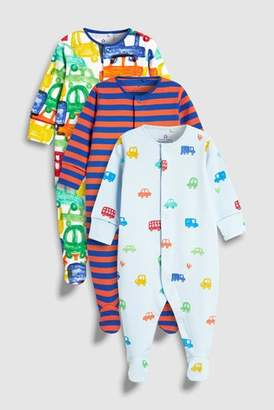 Next Boys Bright Cars And Stripe Sleepsuits Three Pack (0mths-2yrs)