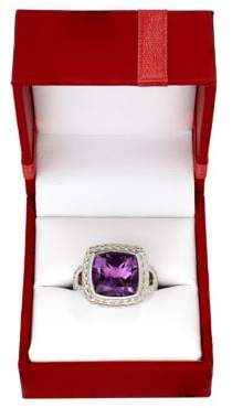Lord & Taylor Sterling Silver Purple Amethyst Red Box Ring