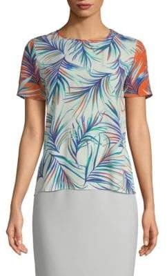 BOSS Ilorika Palm-Print Silk Crepe Blouse