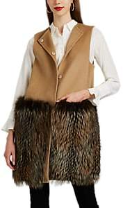 Barneys New York Women's Fur-Trimmed Wool-Cashmere Vest - Lt. brown