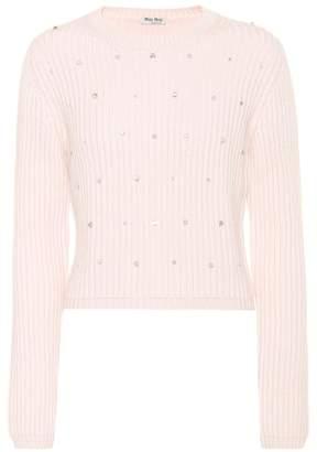 Miu Miu Embellished knitted cashmere sweater