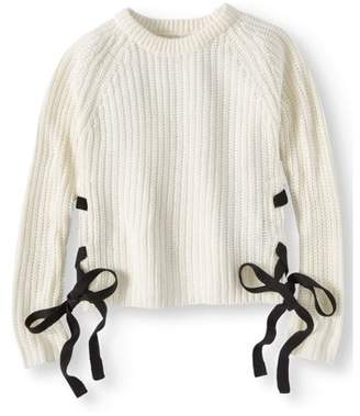 Pink Angel Chunky Pullover Sweater with Lace Up Detail (Little Girls & Big Girls)