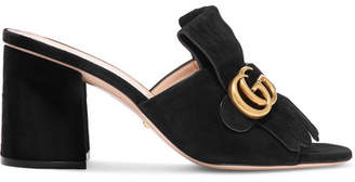 Gucci Marmont Fringed Logo-embellished Suede Mules - Black