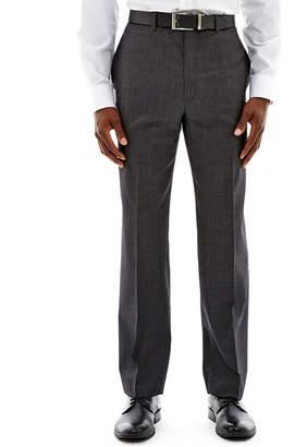 Claiborne Charcoal Herringbone Flat-Front Suit Pants