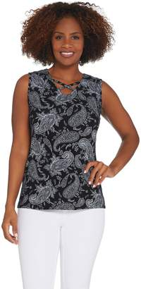 Denim & Co. Perfect Jersey V-Neck Tank Top with Criss Cross Detail