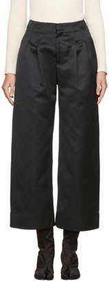 Nomia Black Satin Wide-Leg Trousers