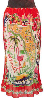 Anna Sui - Florida Plissé Printed Silk Midi Skirt - Red