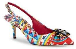 Dolce & Gabbana Printed Slingback Kitten-Heel Pumps