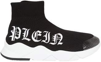 Philipp Plein Logo Gothic Embroidered Hi-top Sneakers