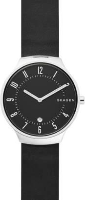 Skagen Grenen Leather Strap Watch, 38mm