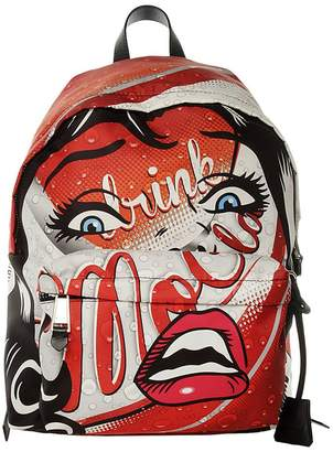 Moschino COUTURE Backpack Backpack Moschinoeyes Capsule Collection In Cotton With Drink Print