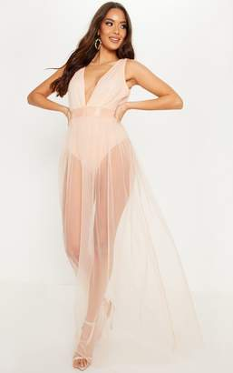 PrettyLittleThing Nude Mesh Plunge Maxi Dress