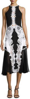 Jonathan Simkhai Lace-Appliqué; Contoured Midi Dress