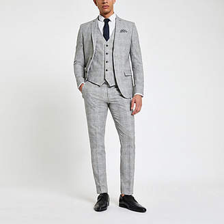 River Island Light grey check skinny fit suit pants